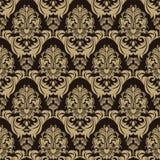 Bezszwowy ozdobny kwiecisty wzór na czekoladowym tle Fotografia Stock