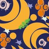Bezszwowy Półksiężyc księżyc tło z ślimaczkami royalty ilustracja