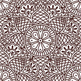 Bezszwowy Paisley wzór z kwiatami w azjata stylu ręki rysunku ilustracji