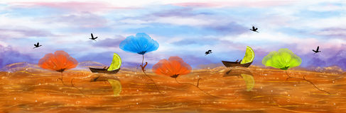 Bezszwowy panorama ocean herbata ilustracji