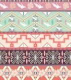 Bezszwowy pastelowy aztec wzór z ptakami i różami Obrazy Royalty Free