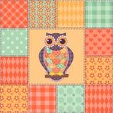 Bezszwowy patchwork sowy wzór 4 ilustracja wektor