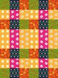 Bezszwowy patchworku wzór od jaskrawych kolorowych łat z liśćmi i kwiatami Fotografia Royalty Free
