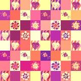 Bezszwowy patchworku wzór z liśćmi i kwiatami ilustracja wektor