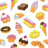 Bezszwowy piksli tortów wzór Zdjęcie Stock
