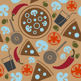 Bezszwowy pizza wzór Zdjęcie Royalty Free