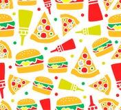 Bezszwowy pizzy i hamburgeru wzór Fotografia Stock
