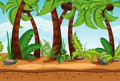 Bezszwowy plaża krajobraz z drzewkami palmowymi ilustracji