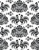 Bezszwowy połysk, Slawistyczny czarny ludowej sztuki wzór z kogutami - Wzór Lowickie, wycinanka Obraz Royalty Free