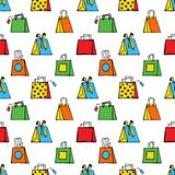 Bezszwowy pociągany ręcznie wzór stylizowane kolorowe torby na zakupy na białym tle royalty ilustracja