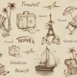 Bezszwowy podróż wzór ilustracji