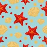 Bezszwowy podwodny morze wz?r z rozgwiazd? i skorup? Abstrakcjonistyczny powt?rki t?o, kolorowa wektorowa ilustracja mo?e u?ywa?  zdjęcie royalty free