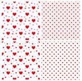 Bezszwowy polki kropki czerwieni wzór z sercami wektor wielostrzałowy te Obrazy Stock