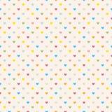 Bezszwowy polki kropki kolorowy wzór z sercami. Fotografia Royalty Free