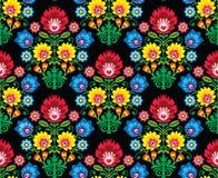 Bezszwowy Polski ludowej sztuki kwiecisty wzór - wzory lowickie, wycinanka Obraz Royalty Free