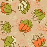 Bezszwowy powtórka wzór z kwiatami kolorowy doodle Zdjęcia Royalty Free