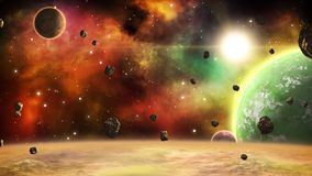 Bezszwowy pozaziemski tło Astronautyczna scena z planetami, asteroidami i mgławicą, royalty ilustracja