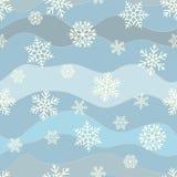 Bezszwowy prosty wzór różni błękitni geometryczni płatki śniegu Zdjęcie Stock