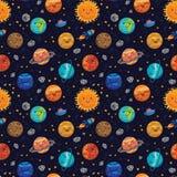 Bezszwowy przestrzeń wzoru tło z planetami, gwiazdami i kometami, Zdjęcia Royalty Free