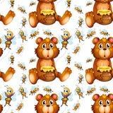 Bezszwowy pszczół latać, niedźwiedź z miodem i Zdjęcia Stock