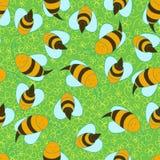 Bezszwowy pszczoły tło Obrazy Royalty Free