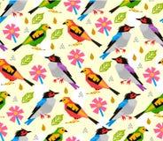 Bezszwowy ptaka wzór z menchiami kwitnie na białym tle Fotografia Royalty Free