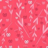Bezszwowy różowy tło gałąź i liście rośliny Botaniczna ilustracja dla tkaniny, tapety i tkanin, royalty ilustracja