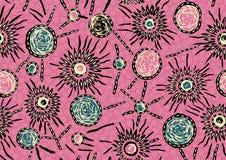 Bezszwowy różowy tło z abstrakcjonistycznym dekoracyjnym projektem ilustracja wektor