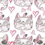 bezszwowy ręka patroszony wzór piękne kociaki ilustracja wektor