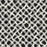 bezszwowy ręka patroszony wzór Po całym wzór z atramentu doodle grunge siatką Graficzny tło z freehand kreskowym tartanem Zdjęcie Royalty Free