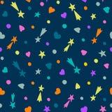 bezszwowy ręka patroszony wzór Spada gwiazdy, serca i okręgi na zmroku, - błękitny tło royalty ilustracja