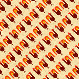 Bezszwowy retro wzór stylizowani gaworzy koguty Fotografia Stock