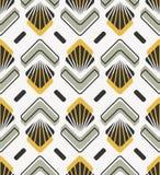Bezszwowy retro wzór z abstrakcjonistycznymi kwiecistymi i geometrycznymi elementami royalty ilustracja