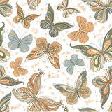 Bezszwowy rocznik deseniujący motyli tło Zdjęcia Stock