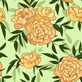 Bezszwowy rocznik wiosny brzoskwini peoni kwiatu wzór ilustracji