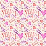 Bezszwowy rocznika serca wzór Tileable tło Zdjęcia Royalty Free