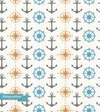 Bezszwowy rocznika tło z morskimi symbolami royalty ilustracja