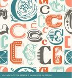 Bezszwowy rocznika wzór list C w retro kolorach Zdjęcia Royalty Free