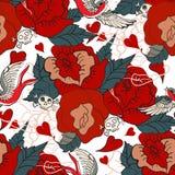 Bezszwowy rocznika wzór z kwiatami Zdjęcie Royalty Free