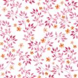 Bezszwowy rocznika wzór z ręka malującymi menchia liśćmi i ditsy małymi kwiatami akwarela ilustracji