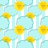 Bezszwowy słońce i chmurnieje dzieciaka wzoru tło Zdjęcie Royalty Free