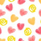 Bezszwowy serc i zawijasów wzór dla Valenti Obrazy Stock