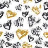 Bezszwowy serce wzór Czarny, Biały i Złocisty atramentu wzór, royalty ilustracja