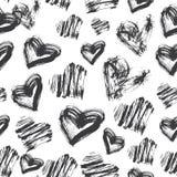 Bezszwowy serce wzór Czarny I Biały atramentu wzór royalty ilustracja