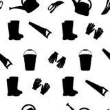 Bezszwowy set narzędzia dla uprawiać ogródek inkasowy ogrodnictwo Ikony sylwetka royalty ilustracja