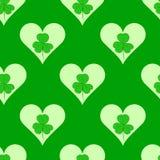 Bezszwowy shamrock w sercach Zdjęcie Stock
