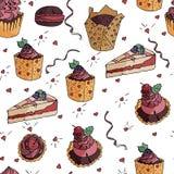Bezszwowy smakowity wzór z yummy tortami w wektorze ilustracji