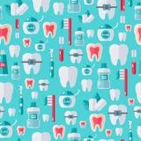 Bezszwowy stomatologiczny wzór z płaskimi ząb opieki ikonami ilustracji