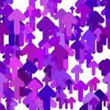 Bezszwowy strzałkowaty tło wzór - wektorowy graficzny projekt od zaokrągla w górę strzała w purpurach tonuje z cienia skutkiem Fotografia Stock