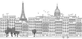 Bezszwowy sztandar Paryska linia horyzontu ilustracja wektor